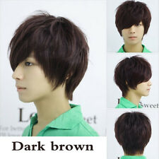 New Men Boys Korean Style Dark Brown Vogue Short Hair Full Wigs Cosplay Party