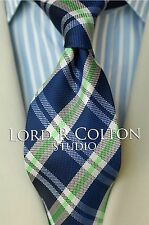 Lord R Colton Studio Tie - Bright Blue & Green Check Necktie - $95 Retail New