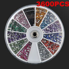 3600pcs 1.5mm 3D Rhinestones Glitter Diamond Gems Nail Art Tips Decoration Wheel