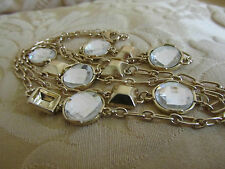 """Gold Tone Chain with Clear Faceted Glass Sections - 38"""" long"""