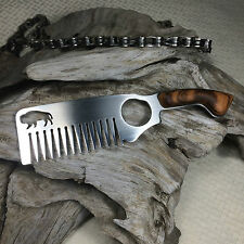 Stainless Steel & Tiger Wood Hair & Beard Comb No. 2