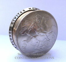 Vintage George & Dragon 1951 Crown Coin Screw Lid Pill / Snuff Box / Keepsake