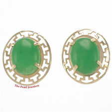 14k Yellow Solid Gold Greek Key Design, Oval Cabochon Green Jade Stud Earrings