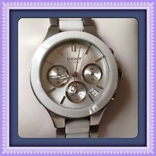 DKNY NY8257 White Dial Chronograph Steel and Ceramic Ladies Watch