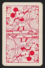 1 SINGLE VINTAGE SWAP PLAYING CARD ENN MUSICAL ' MICKEY MOUSE MI-2-1-B RED'