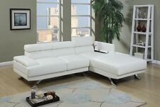 Modern White Bonded Leather Furniture Couch Chaise Lounge Sectional Sofa Metal