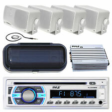 "New Marine Boat MP3 Player AUX Radio 4 3.5"" Box Waterproof Speakers Amp Kit Syst"