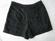 Navy & Green Velvet Feel Leopard Print Shorts / Hot Pants by TopShop in Size 10