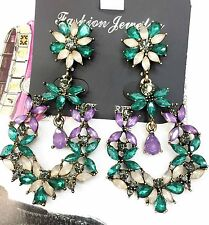 Wholesale Green Glass Crystal Rhinestone Ear Drop Dangle Stud Earrings 847