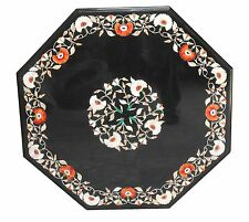 2'x2' Black Marble Top Coffee Table Marquetry Inlay Mosaic Garden Decor H1584