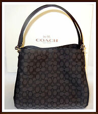 NWT NEW $375 Coach Signature Leather Trim Phoebe Shoulder Hand Bag BLACK