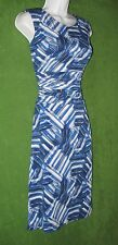 Nine West Regal Blue White Gray Stretch Jersey Ruched Work Social Dress16 $79