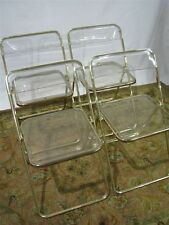 Set of 4 Castelli Italian Goldtone and Lucite Folding Chairs, Mid-century Modern