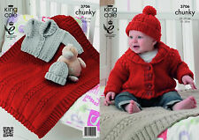 King Cole Childrens Chunky Knitting Pattern 3706: Cabled Jackets,Blanket & Hat
