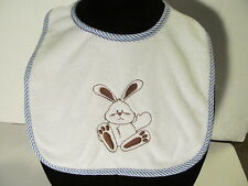 Embroidered Baby Bunny Bib is Waiting to be Worn for Easter or Everyday use