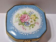 LIMOGES CASTEL FRANCE FAIT MAIN SMALL RING TRINKET JEWELRY BOX PAINTED PINK ROSE