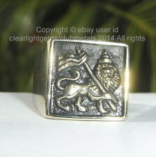 LION OF JUDAH BRONZE MEN'S RING Rastafarian Ethiopia Marley Jamaica ANY SIZE!
