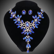 Blue Colors Crystal Bridal Jewelry Set For Wedding Party Brides Necklace Earring
