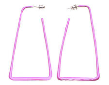 Tres Chic & Unique- Fuchsia Pink Large Pyramid Block Metal Earrings (Zx226)