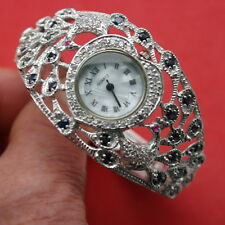 "Superb 925 Silver Wrist Watch With Blue sapphire Ruby Marcasit 6"".25 Inch Wide"
