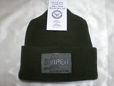 Government Issue Wool Watch Cap Punisher Sniper Patch Beanie Skullcap Knit Hat
