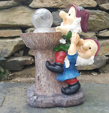 Garden Gnomes Solar Light Ornament Decor  Bird feeder or bathDS5150