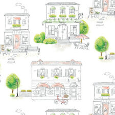 Living Room Wallpaper Ideas Town Pattern Self Adhesive Prepasted Wall Covering