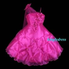 NEW Flower Girl Pageant Wedding Bridesmaid Party Dancing Dress Fuchsia SZ 6 Z20G