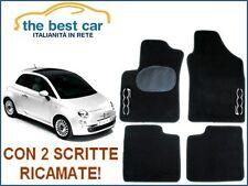 Tappetini auto personalizz. Fiat 500 nuova, con battitacco e 2 scritte ricamate