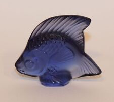 Signed Lalique France Crystal Poisson Angel Fish Figurine Sapphire Blue 30003