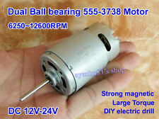 DC 12V-24V Dual Ball Bearing Large Torque Strong Magnetic 555 DC Motor for Drill