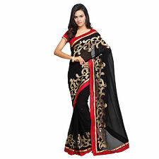 Indian Party Wear Bollywood Designer Black Faux Chiffon Zari Embroidered Sari