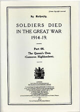 BARGAIN PRICE BOOK -SOLDIERS DIED IN THE GREAT WAR - THE CAMERON  HIGHLANDERS