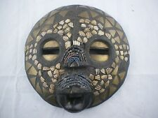 Round Wood African Face Mask Wall Decor Brass, Shell, Bead Inlay. Ghana