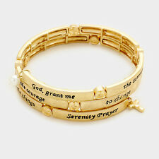 Serenity Prayer Bracelet Wrap Around Coil Cross Charms Religious AA Gift Gold
