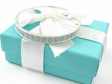 Authentic Tiffany & Co White Blue Enamel Daisy Bangle Box and Pouch Included