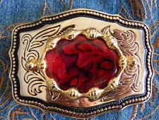 NEW HANDCRAFTED  NEW RED ABALONE BELT BUCKLE GOLD/BLACK  METAL,WESTERN,GOTH