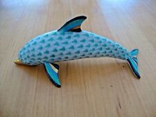 "Herend Green Fishnet Dolphin Gilt Accents,Signed,Hungary,#1539,Mint ,5 1/2"" long"