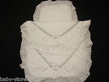 Beautiful Pram Quilt and Pillow Set WHITE romany. Style suitable for MOST PRAMS
