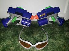 Lot 2 Nerf Crossfire Sidearm Pistol Dart Gun Blue & Orange Lens Glasses Eyewear