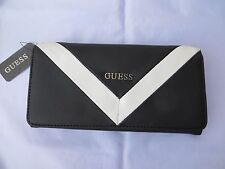NWT GUESS FIRESIDE CHEVRON  Wallet Purse Handbag Bag BLACK/WHITE