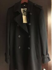 NEW Authentic Burberry London Mens Black Virgin Wool Cashmere Trench Coat SZ 50