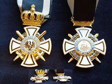 Orden Hohenzollern Ritterkreuz mit Schwerter + Krone Mehrteilig + gewölbt neu -