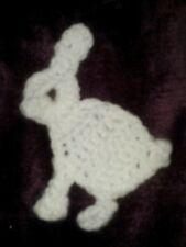 Crocheted flat rabbit. sew on cushion, bag, clothes. patch. badge. embellishment