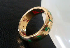Feng Shui = 2016 Red & Green Tara Ring (Gold Stainless Steel) Size 8