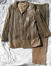 Vintage Karl Lagerfeld Chloe leather JACKET & PANTS couture suit set coat retro