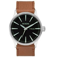 Nixon A1051037 Sentry Leather Brown Black Silver Men's Analog Watch