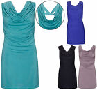 Womens New Cowl Neck Ladies Sleeveless Open Back Long Top Bodycon Fit Mini Dress