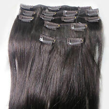 "Womens Lot Cheap Price 15""~36"" Remy Human Hair Extensions Clip In Straight Hair"