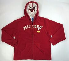 "Disney ""Mickey"" Fleece Large Jacket w/Hood Stain Liner,  Red, LOGO VGC"